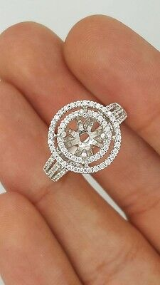 18K White Gold Diamond Round Solitaire Double Halo Engagement Setting Ring 6.5