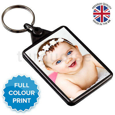 Personalised Custom Photo Gift Keyring Key Fob 50 x 35 mm | Graphite Grey