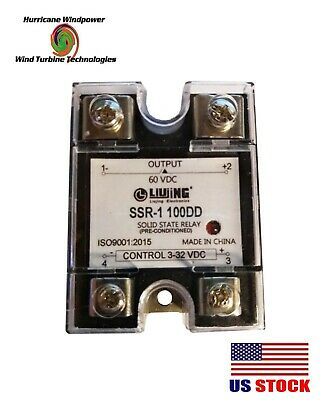 Solid State Relay SSR DC 100A 3-32V DC/5-60V for Wind Generator Solar Panel