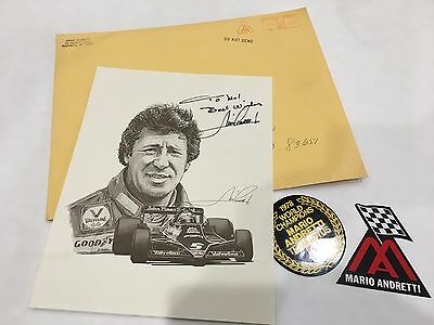 Mario Andretti 1979 Signed Autograph 8 x 10 & Decals