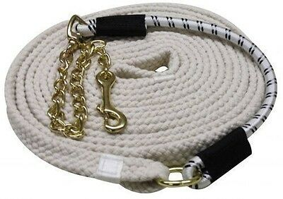 "New 25' Flat Braided Cotton Lunge Line w/Brass Stud Chain and 18"" Bungee"