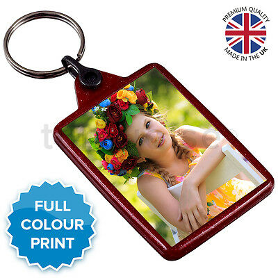 Personalised Custom Photo Gift Keyring Key Fob 50 x 35 mm | Red