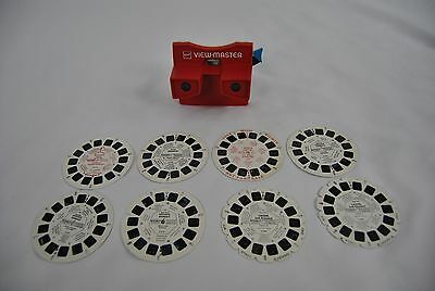GAF View-Master Vintage Red White and 8 Reels Great Condition