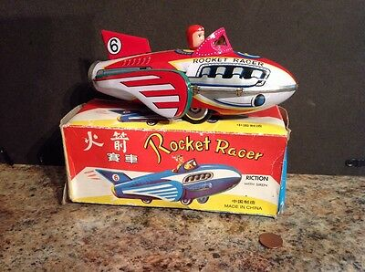 Rocket Racer 6 Vintage Tin Toy With Box Friction Drive Near Mint Condition Rare!