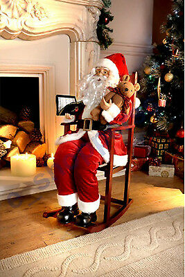 Story telling Santa Claus on Rocking Chair on Christmas Tree LED Decoration80cm