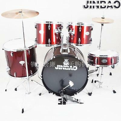 Drum Kit 5 Piece with Cymbals Stands and Stool Jinbao Wine Red Colour