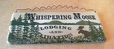 8x3 country primitive WHISPERING MOOSE LODGE & LIBATION rustic lodge decor sign