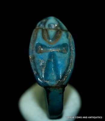 Ancient Egyptian Faience Ring With Ankh Hieroglyph, Amarna Period 1353 B.c