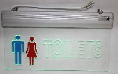 CLEAR LED Maintained Non Maintained Emergency Lighting TOILET Sign Light & chain