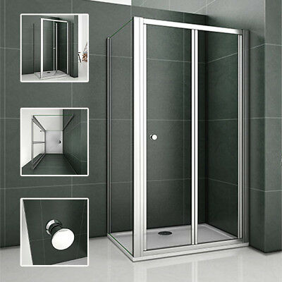 Bifold Shower Enclosure and Tray & Waste Walk In Glass Cubicle Door Screen Panel