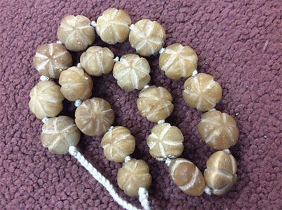 Egyptian Pumkin Natural Old White Jade Beads Bohemian Necklace Gypsy Mystic Boho