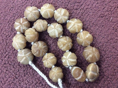 Stones Natural Old White Jade Beads Bohemian Necklace Gypsy Antique Roman