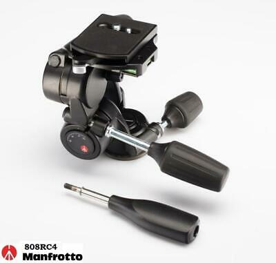 New Manfrotto 808RC4 Counter Balance 3 way Pan Tilt Head with RC4 Quick Release