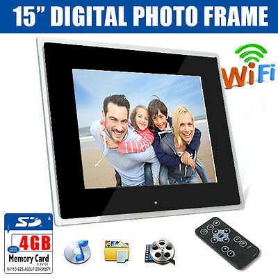 """15"""" Black Digital WiFi Android Photo Frame MP3 Audio Video Photograph + 4GB SD"""