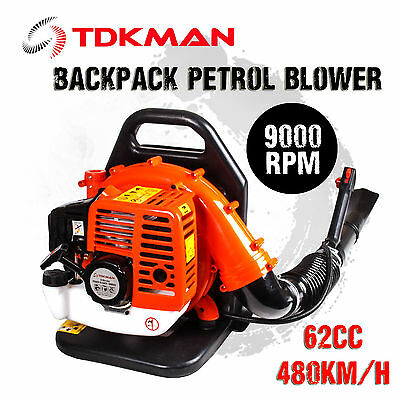 NEW TDKMAN 62CC 2-Stroke Petrol Backpack Leaf Blower Garden Tool Yard Tree Hand