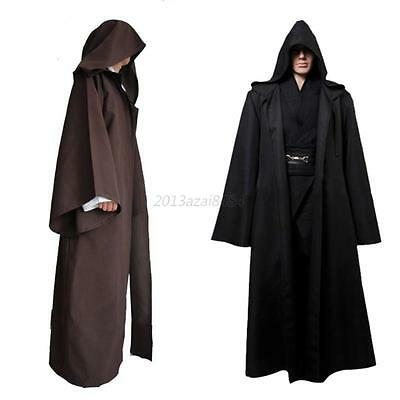 Adult Hooded Cloak Wicca Robe Medieval Witchcraft Cape Halloween Fancy Dress