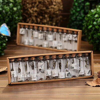 12PCS/Set Clear Glass Cork Empty Small Message Wishing Transparent Bottle Vials