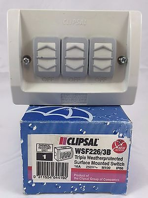 GENUINE CLIPSAL WSF226/3B Triple Weatherprotected Surface Mount Switch 16A 250V