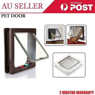 2/4 Way Lockable Locking Pet Door Cat Dog Frame Safe Security Brushy Flap Screen