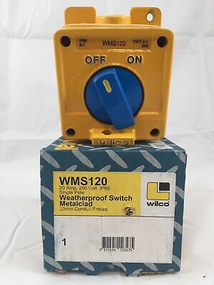 GENUINE Wilco WMS120 Weatherproof Switch Metalclad 1 Pole 20A 250V 20mm entry