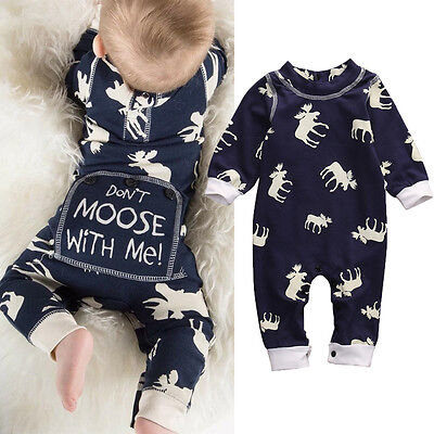 Cute Infant Baby Girl Boy Don't Moose With Me Romper Bodysuit One-pieces Outfits