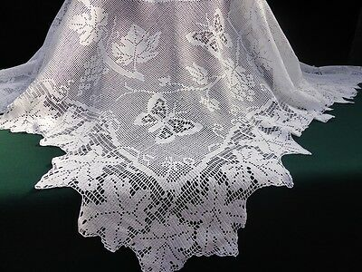Antique Linen & Hand Crochet Tablecloth-Mary Card Design-Grapevine and Butterfly