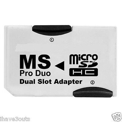 Dual Slot MicroSD TF To MS Memory Stick Pro Duo Adapter Sony PSP & Mobile Phone