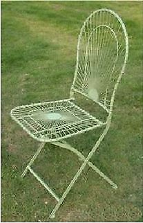 Vintage Pale Green Wirework Folding Garden Chair With Curved Back