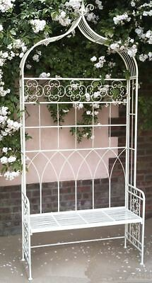 Vintage Pale Green Ornate Scroll Wrought Iron Garden Arbour Seat