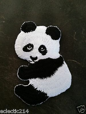 PANDA BEAR Embroidered Cloth Patch Iron on or Sew MINT NEW