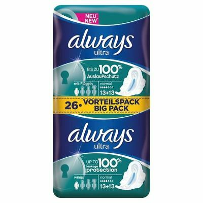 Always Ultra Normal Plus with wings Sanitary Towels 2 x 13 per pack
