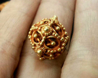 Astonishing Antique Solid 22-24K Gold Viking Bead Handwork Multi Layer Thorn