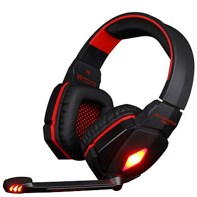 Gaming Headset Headphones with Microphone LED Light Stereo Surround Headband