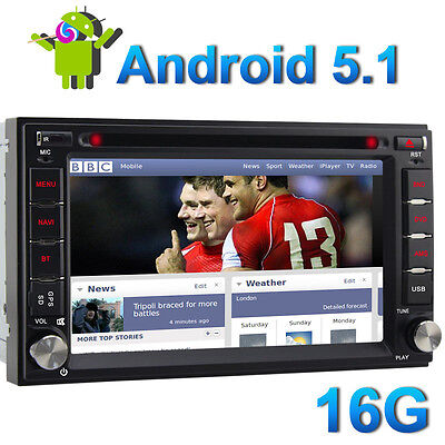 "DAB+ 6.2"" Android 5.1 Double 2 DIN Sat Nav Car GPS DVD Stereo DAB+ Radio WiFi 3G"