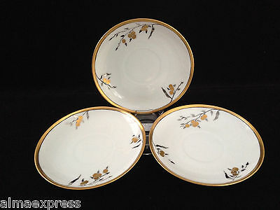 Lot of 3 Signed Jaeger & Co PMR Bavaria Germany Gold Berry Fruit TEA CUP SAUCERS