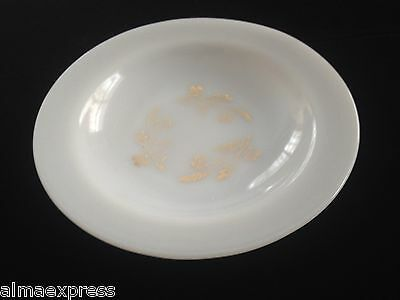 "Federal Glass Co Milk Glass Meadow Gold Flowers Wheat - 8"" RIMMED SOUP BOWL"