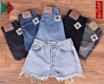 Levis Vintage 501 Womens High Waisted Denim Shorts Hotpants 6 8 10 12 14 16