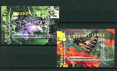 Tonga 2016 MNH Butterflies 2x 1v S/S Insects Swallowtail Butterfly EMS Stamps
