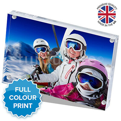 """Personalised Acrylic Photo Block Picture Frame Gift Vision Blox   6 x 4"""" Inch"""