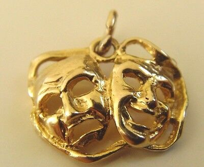 VINTAGE 9 ct GOLD HALLMARKED COMEDY& TRAGEDY PENDANT or  CHARM