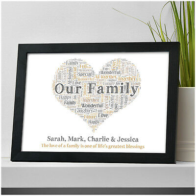 Family Gift Personalised Family Heart Print Gift Our Family Christmas Present