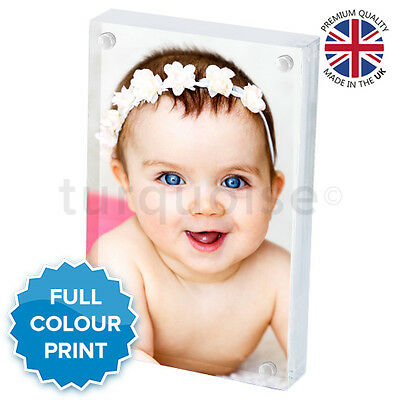 Personalised Mini Acrylic Photo Block Picture Frame Gift Vision Blox   70 x 45mm