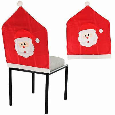 Christmas Santa Face Bobble Hat Felt Dining Chair Cover Xmas Party Decoration