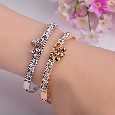 Made With Clear White Swarovski Crystal Stones Gold Plated Ring Bracelet Bangle