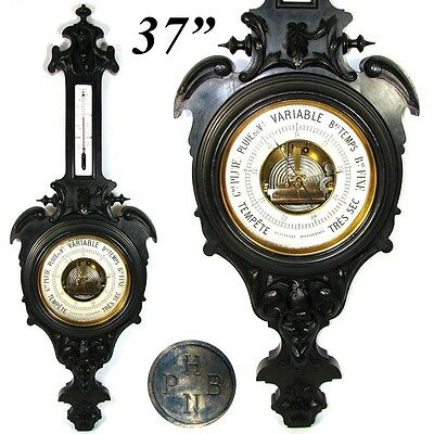 "Antique Victorian 37"" Wall Barometer, Thermometer, Carved & Ebonized Wood Case"