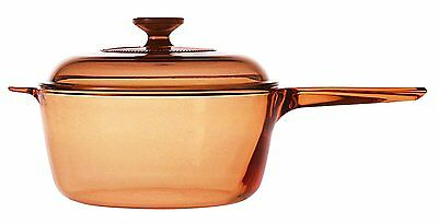 Visions Saucepan Covered With Glass Lid Cooking Pot, 2.5L, Amber