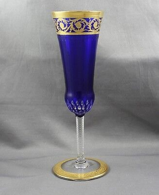 "St Louis Crystal Thistle Solid Band Cobalt Champagne Flute 7"" Sold Individually"
