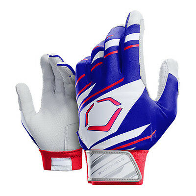 Evoshield 2.0 Protective Youth Baseball Batting Gloves - Royal/Wh/Red Y-Small