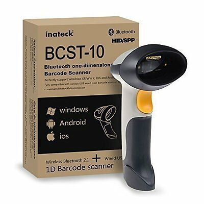 Inateck Wireless Bluetooth Code Barcode Scanner Laser Bar Reader PC IOS Android