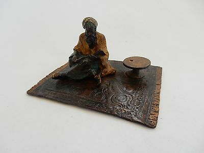 Vienna Cold Painted Bronze Gentleman Reading on Carpet Signed Bergman